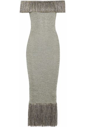 CHRISTOPHER KANE Off-the-shoulder fringed knitted lamé midi dress
