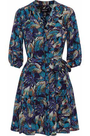 SALONI Tyra belted silk crepe de chine mini shirt dress