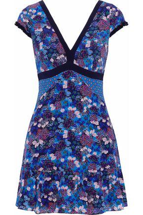 SALONI Avril printed silk-georgette mini dress