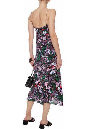 SALONI Inga fluted floral-print silk crepe de chine midi dress