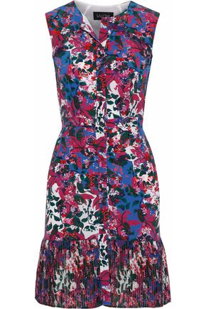 SALONI Mari printed silk crepe de chine and pleated chiffon mini dress