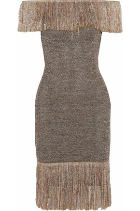 CHRISTOPHER KANE Off-the-shoulder fringed knitted lamé dress
