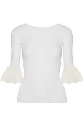 OSCAR DE LA RENTA Lace-trimmed ribbed merino wool top