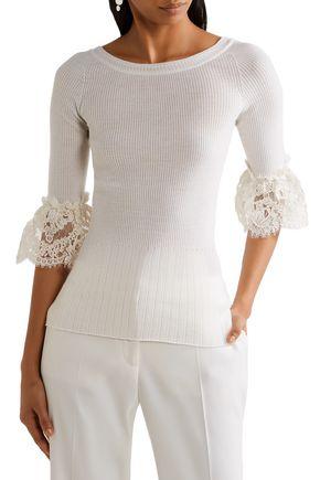 OSCAR DE LA RENTA Lace-trimmed ribbed merino wool top