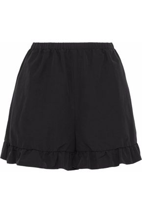 REDValentino Ruffle-trimmed cotton-blend faille shorts