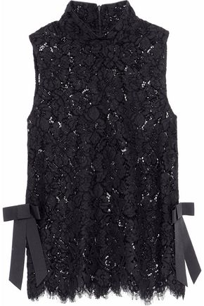 GANNI Duval bow-embellished corded lace top