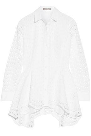LELA ROSE Asymmetric broderie anglaise cotton top