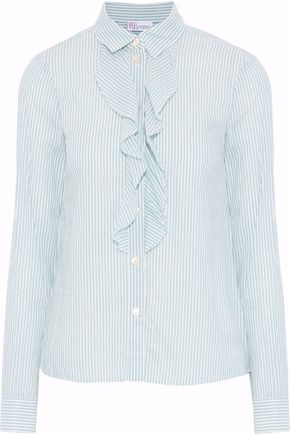 REDValentino Ruffled striped cotton shirt