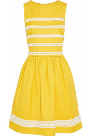 REDValentino Woven-trimmed gathered basketweave cotton dress