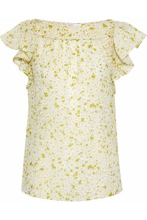 REDValentino Ruffled floral-print cotton and silk-blend gauze top