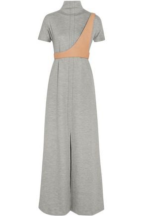 MAISON MARGIELA Leather-trimmed wool-blend maxi dress