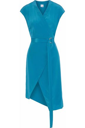 IRIS & INK Kim belted wrap-effect silk crepe de chine dress