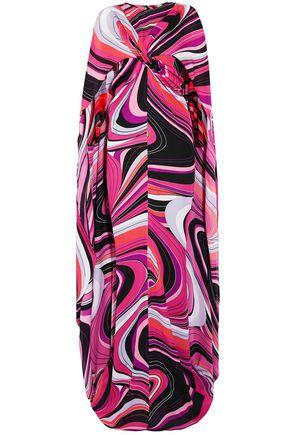 EMILIO PUCCI Cape-effect printed silk maxi dress