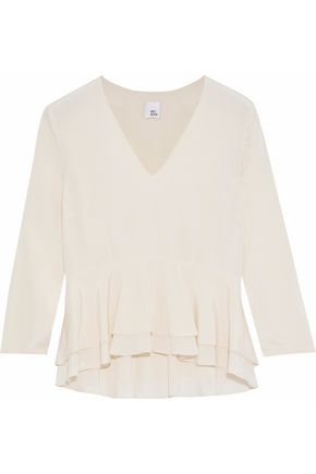 Marissa Ruffled Silk Crepe De Chine Peplum Blouse by Iris & Ink