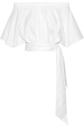 SALONI Drew off-the-shoulder stretch-cotton poplin top