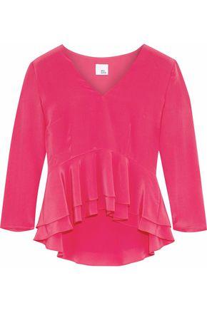IRIS & INK Marissa ruffled silk crepe de chine peplum blouse
