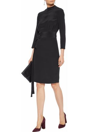 Mia Draped Belted Silk Crepe De Chine Dress by Iris & Ink