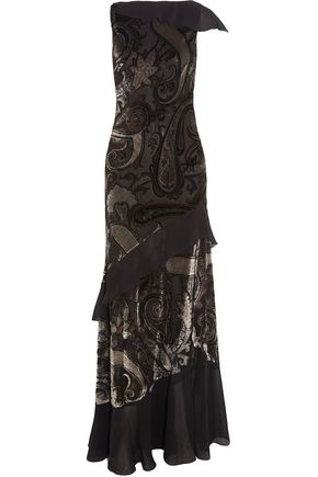 ETRO Ruffled chiffon-paneled devoré-satin gown