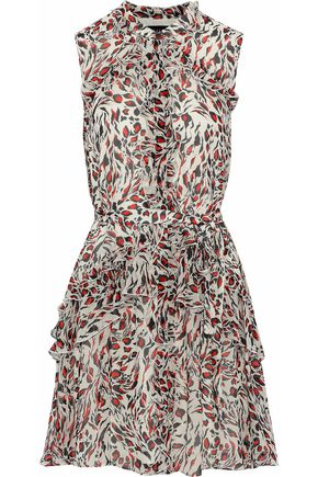 SALONI Tilly ruffled printed silk-georgette mini dress