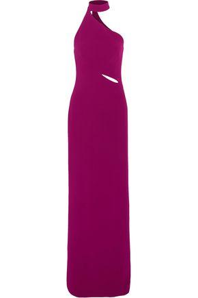 BRANDON MAXWELL Asymmetric crepe halterneck gown