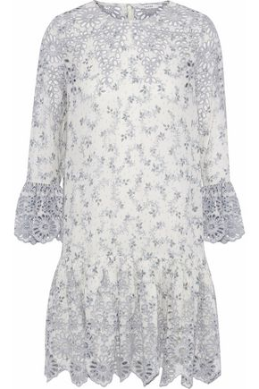 GANNI Gathered printed broderie anglaise mini dress
