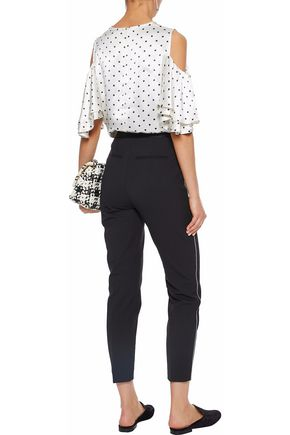 GANNI Leclair cold-shoulder polka-dot satin blouse
