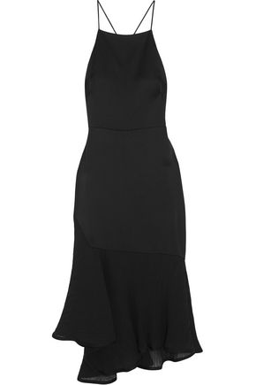 JASON WU Asymmetric plissé chiffon-paneled satin-crepe midi dress