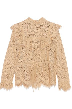 GANNI Jerome ruffle-trimmed corded lace blouse