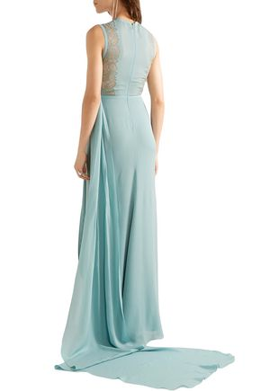 ELIE SAAB Lace-paneled pleated silk-blend georgette gown