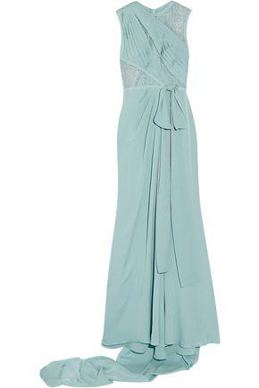 ELIE SAAB Lace-paneled pleated silk-blend georgette gown