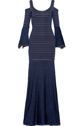 HERVÉ LÉGER Natasha cold-shoulder pointelle-paneled jacquard-knit gown