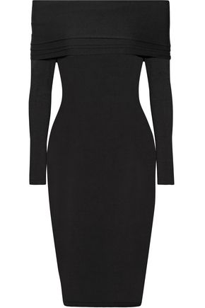 BRANDON MAXWELL Venus off-the-shoulder stretch-knit midi dress