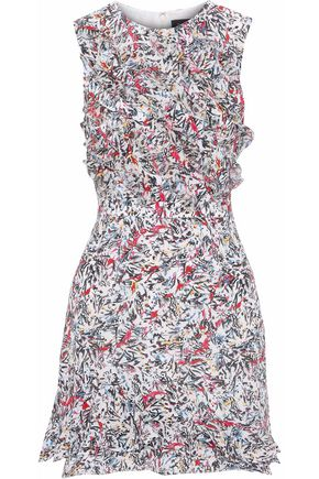 SALONI Celia ruffled printed silk crepe de chine mini dress