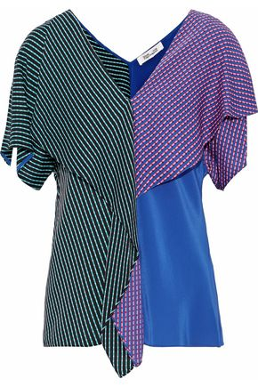 DIANE VON FURSTENBERG Ruffled printed color-block silk-blend blouse