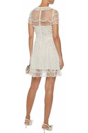 REDValentino Embroidered organza-trimmed point d'esprit mini dress