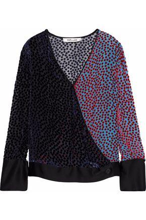 DIANE VON FURSTENBERG Satin-trimmed flocked chiffon wrap blouse