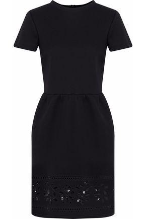 REDValentino Tulle-paneled laser-cut cotton-neoprene mini dress
