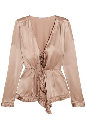 TOMAS MAIER Pleated silk-charmeuse blouse