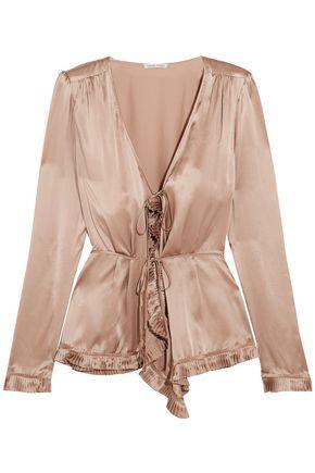 TOMAS MAIER Pleated silk-charmeuse blouse