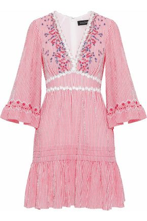 SALONI June embroidered striped cotton-blend seersucker mini dress