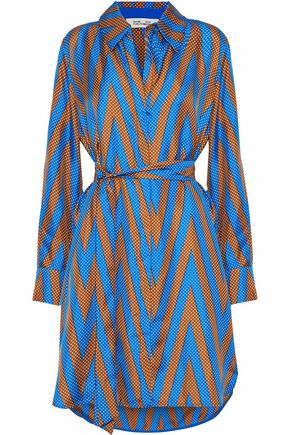 DIANE VON FURSTENBERG Belted printed silk-twill shirt dress