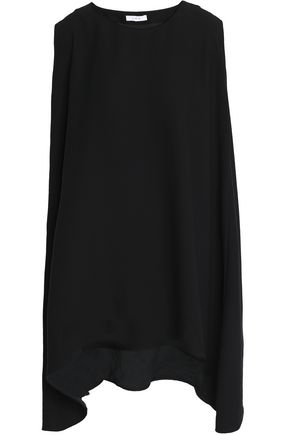 IRO Asymmetric draped crepe de chine mini dress