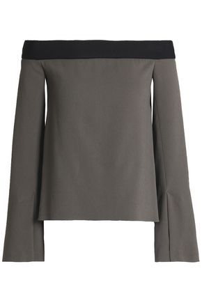 ROLAND MOURET Off-the-shoulder draped crepe top
