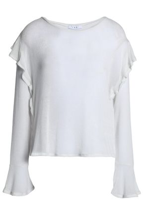 IRO Ruffle-trimmed stretch-knit top