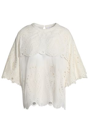 IRO Layered cutout embroidered cotton-poplin top