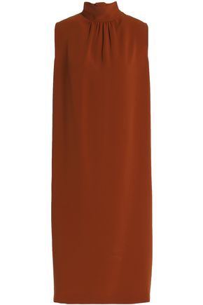 JOSEPH Gathered crepe turtleneck dress