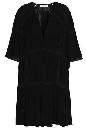 IRO Pointelle knit-trimmed crepe mini dress
