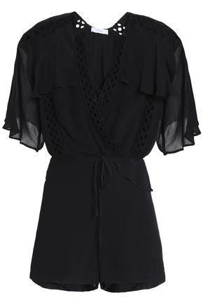 IRO Embroidered chiffon playsuit