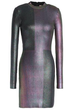 92a5db540eb CHRISTOPHER KANE Coated ribbed-knit mini dress ...