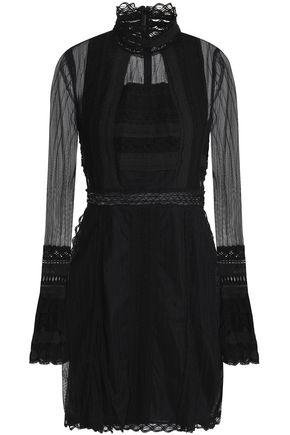 JONATHAN SIMKHAI Lace-trimmed tulle turtleneck dress